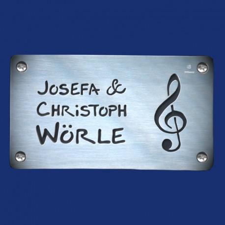 Türschild für Musiker mit schwarzem Hintergrund