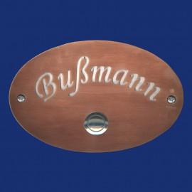 Ovales Klingelschild aus Kupfer massiv