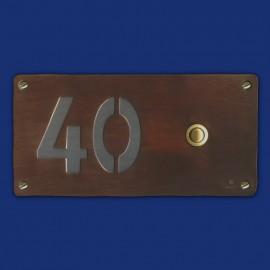 Kupfer-Klingelschild mit  Hausnummer