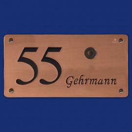 Kupfer-Klingelschild mit Name und Hausnummer
