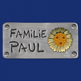 Kleines Familien-Türschild mit zweifarbigem Sonnenblume-Motiv
