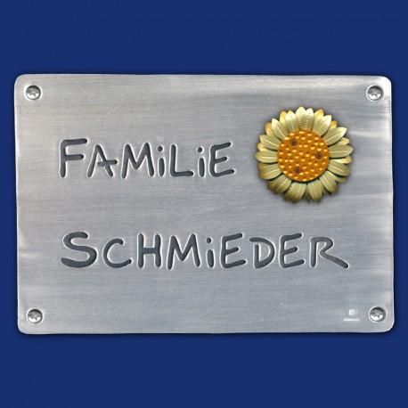 Großes Familien-Türschild mit plastischer Sonnenblume