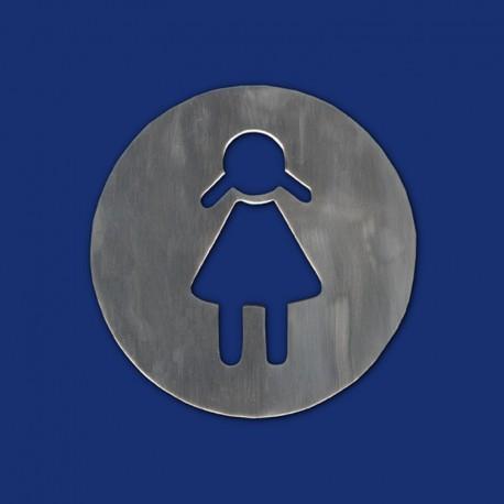 """Rundes WC-Schild 60 mm """"Damen"""" zum Ankleben"""