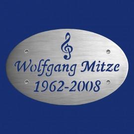 ovales Grabsteinschild für Musikfreunde aus Aluminium zum Anschrauben