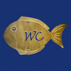 Goldenes Design Schild in Fischform