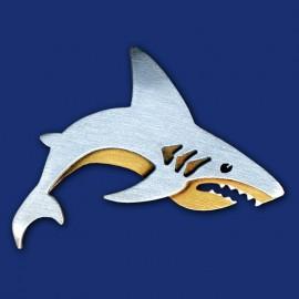 weißer Hai Haifisch Brosche aus Titanzink und Messing