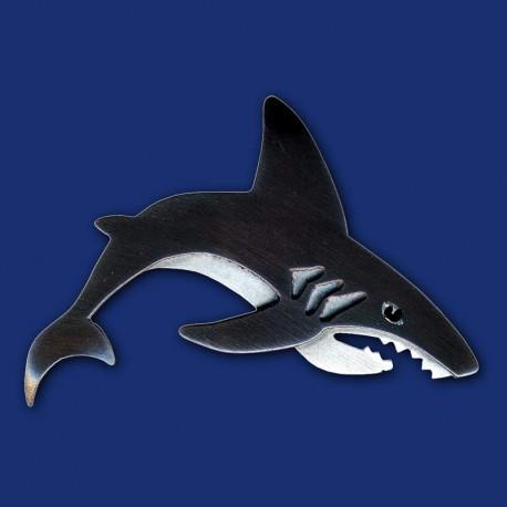 schwarzer Hai Haifisch Brosche aus Kupfer und Titanzink