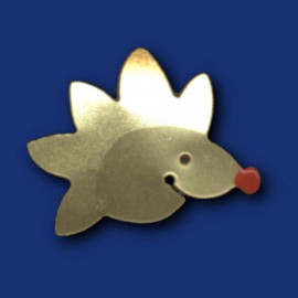 Kleiner  goldener Igel als Pin