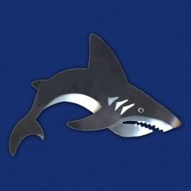 schwarz-silberner Hai als Haarspange