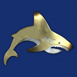 gold-silberner Hai als Haarspange