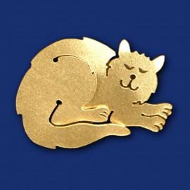 goldene Katze Brosche aus Messing