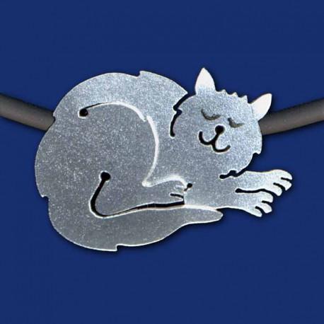 silberne Katze Halskette aus Titanzink