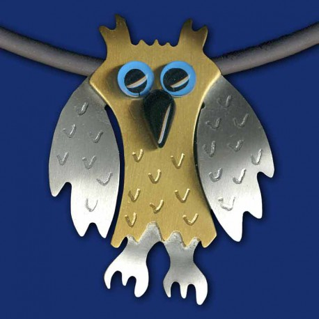 Eule Uhu Halskette Schmuckanhänger silber-gold / blau