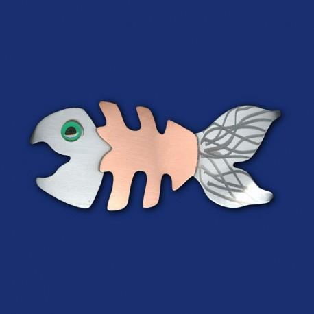 silber-kupferne Fischgräte Haarspange Größe 2