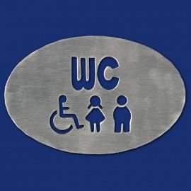 Ovales WC-Schild mit Piktogrammen