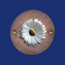 Kupfer Klingelschild mit Blume in 2 Größen