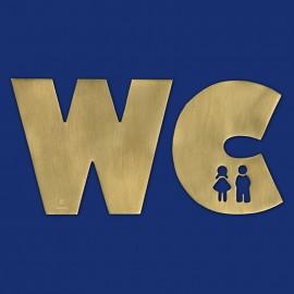 Goldenes WC-Türschild aus Messing Größe L, mit Figuren M + W