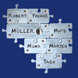 Puzzle-Klingelschild für Familien aus Aluminium, siebenteilig