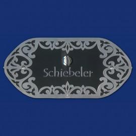 Schwarz-silbernes JUGENDSTIL KLINGELSCHILD, oval