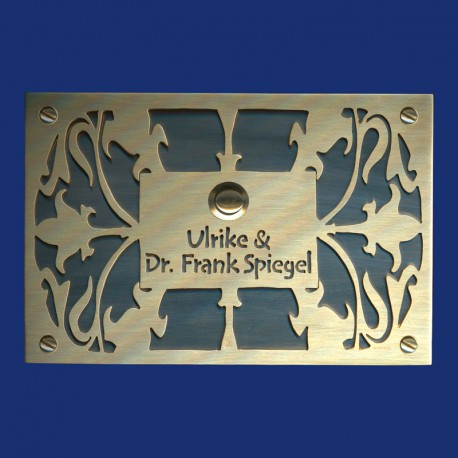 Jugendstil Messingschild Klingelschild schwarz-gold