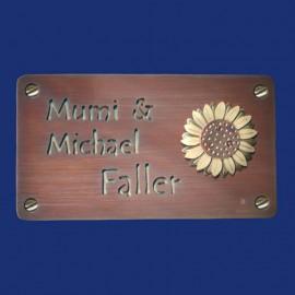 Kupfer-Türschild mit Sonnenblume