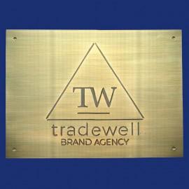 Büroschild Türschild Firmenschild mit Logo aus Messing