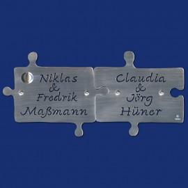 PUZZLE-KLINGELSCHILD zweiteilg aus Aluminium