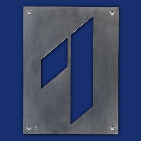 zweiteilige HAUSNUMMER 1 aus Aluminium