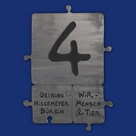 Türschild Puzzle Hausnummer Kombination dreiteilig aus Aluminium