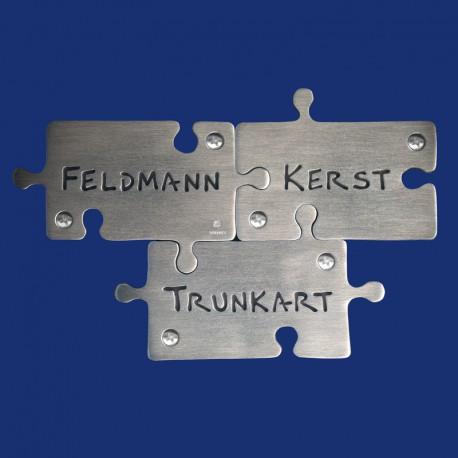 Puzzle Türschild für drei Familiennamen