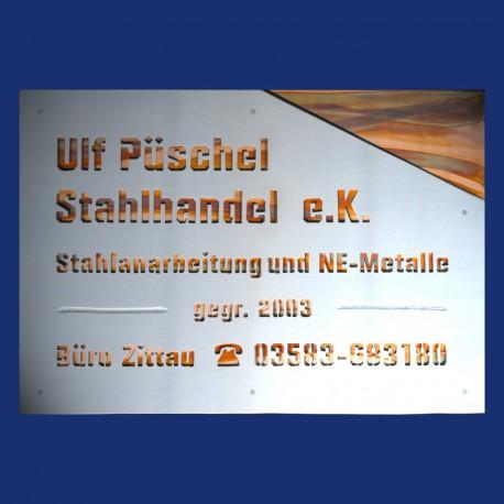 großes Firmenschild aus Aluminium, eloxiert und Kupfer