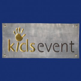 Firmenschild mit Logo, dreifarbig
