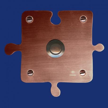 Puzzle-Klingelschild aus Kupfer mit dunkel-kupferfarbener Klingel